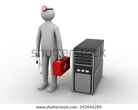 3d white person with a stethoscope and a computer - stock photo