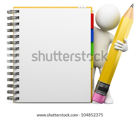 3d white person with blank spiral notepad and a pencil. 3d image. Isolated white background. - stock photo