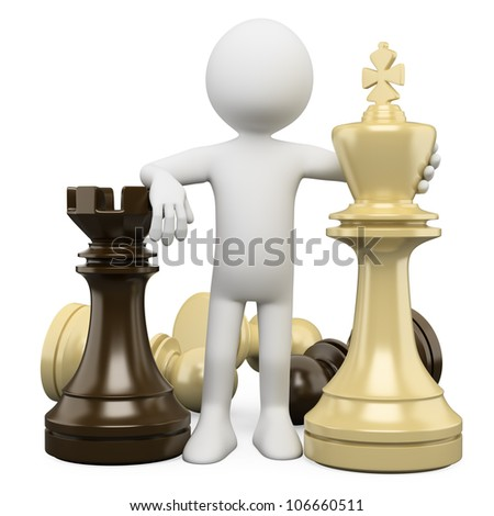 3d white person with chess pieces, strategy concept. 3d image. Isolated white background.