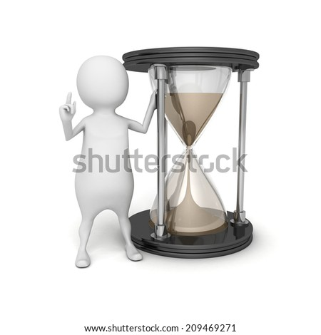 3d white person with sand hourglass. time concept 3d render illustration - stock photo