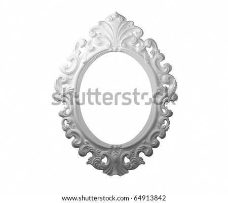 3D White photo frame. - stock photo