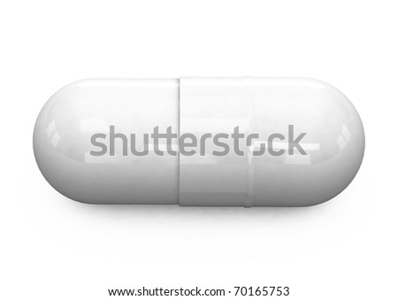 3d white pill on a white background - stock photo