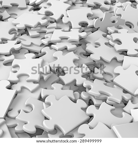 3d white randomly scattered puzzle pieces background - stock photo