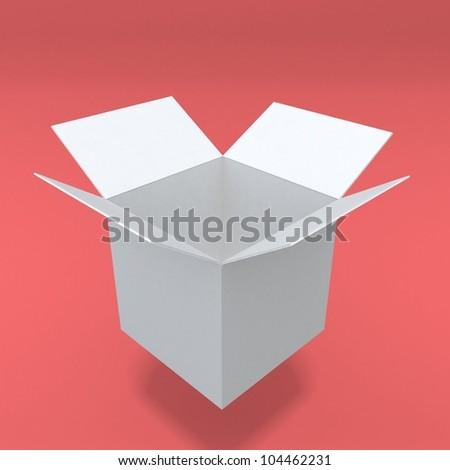 3d white realistic box - stock photo