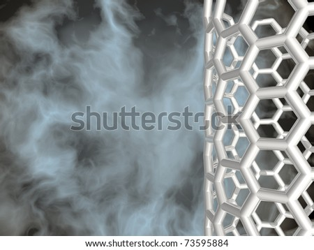 3D white reflective nanotube structure on nebula background