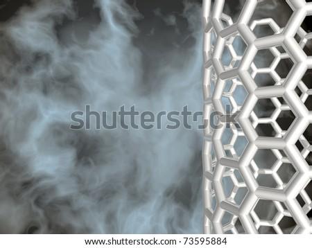 3D white reflective nanotube structure on nebula background - stock photo