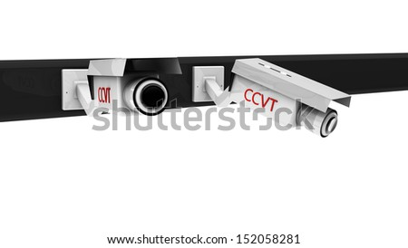3d white  security cameras on white background