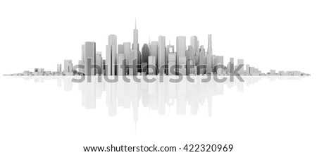 3d white skyline isolated on white with floor reflection - stock photo