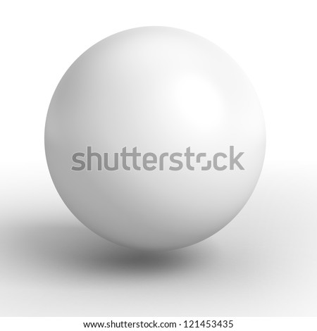 3d white sphere. clipping path included