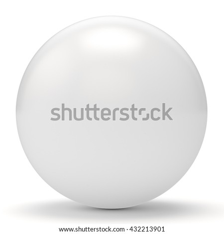 3d white sphere on white background 3D illustration - stock photo