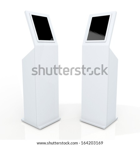 3d white stand display with monitor touch screen for data information in isolated background with clipping paths, work paths included - stock photo