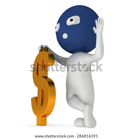 3d white thief stand with golden dollar sign. Thumbs up. Render isolated on white. Money concept. - stock photo