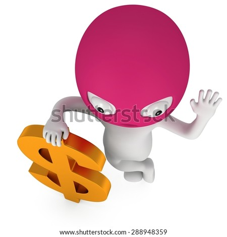 3d white thief stand with golden dollar sign. Welcome. Render isolated on white. Cybercrime concept. - stock photo