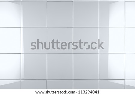 3d white tile wall background - stock photo
