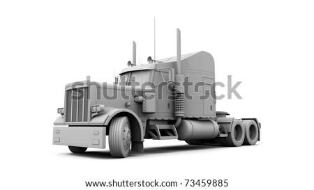 3D White Truck - stock photo