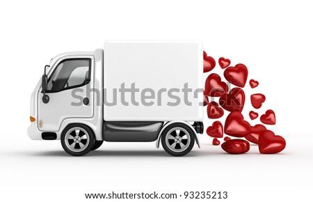 3D white van and valentine hearts - stock photo