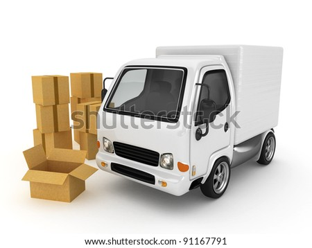 3D White Van with cardboard boxes isolated - stock photo