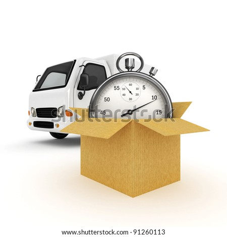 3D White Van with Stopwatch and cardboard boxes - isolated - stock photo