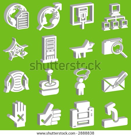 3d white web and internet icon series. Raster version - stock photo