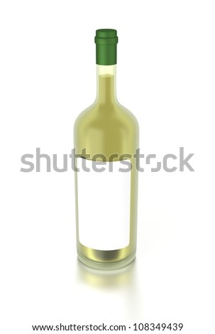 3d white wine bottle filled with white wine and with a blank label. 3d image render. Isolated on white background.