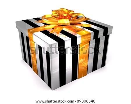 3D white with black Gift cristmas box on the white - stock photo