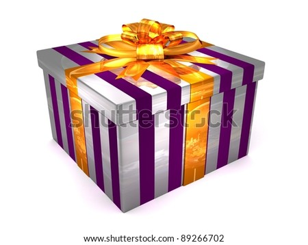 3D white with purple Gift cristmas box on the white - stock photo