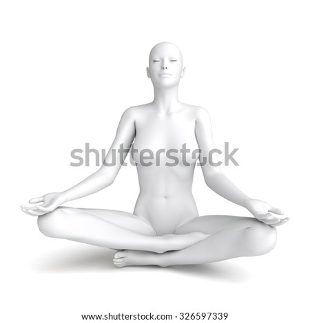 3D white woman model isolated on white background - stock photo