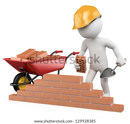 3d white worker building a brick wall. 3d image. Isolated white background. - stock photo