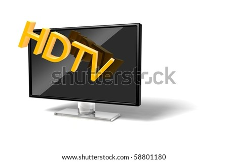 3D wide screen modern High-definition TV icon on white background - stock photo