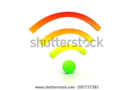3d wifi icon - stock photo