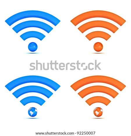 3d wifi icon collection isolated on white background - stock photo