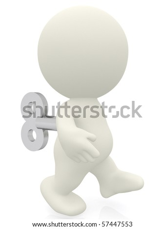3D Wind-up toy walking - isolated over a white background