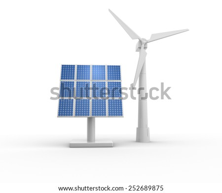 3d windmill and photovoltaic system - stock photo