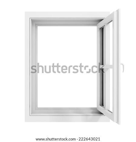 3d window frame on white background - stock photo
