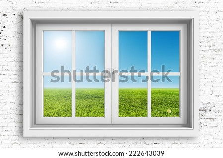 3d window frame with beautiful blue sky background