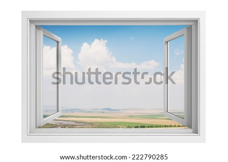 3d window frame with beautiful blue sky background - stock photo