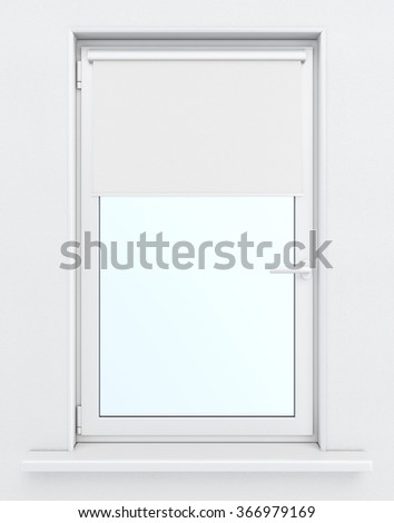 3d window with lowered roller blind.  - stock photo