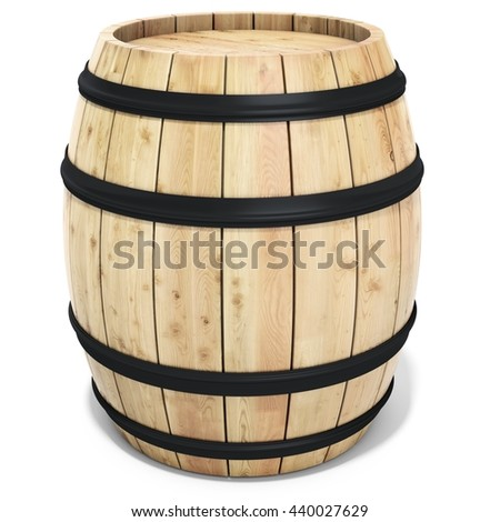 3d wine barrel on the white background 3D illustration - stock photo