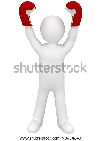 3d winner boxer isolated on white - stock photo