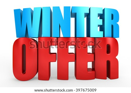 3D winter offer word on white isolated background - stock photo