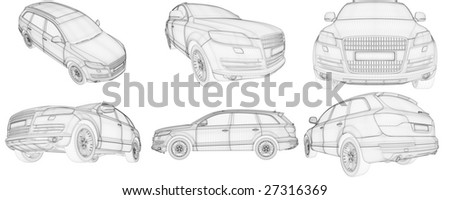 3D wire-frame car HD - stock photo