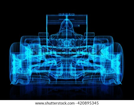 3d wire frame front view of a race car on a black background. 3d rendering - stock photo