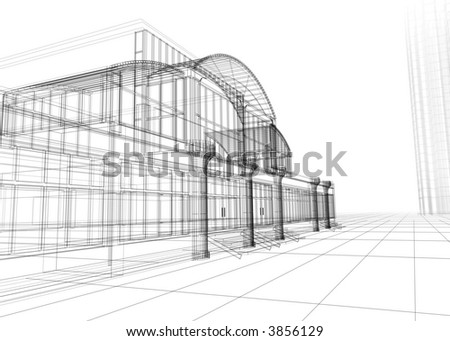 3D wire-frame of office building. Concept - modern architecture, designing. - stock photo