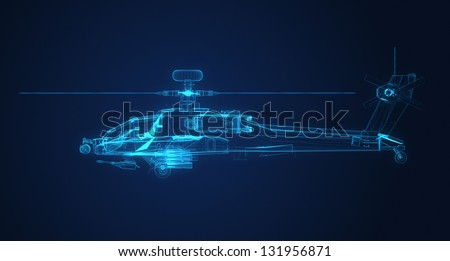 3d Wire Frame sketch of Apache Helicopter - stock photo