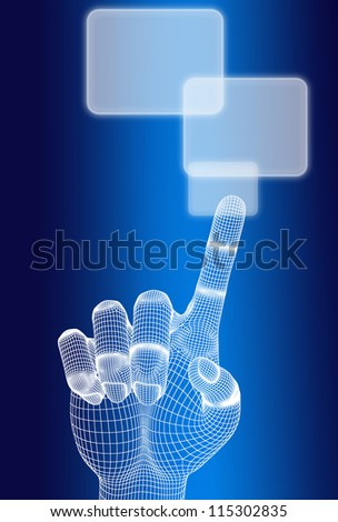 3d wireframe hand push button on blue background - stock photo