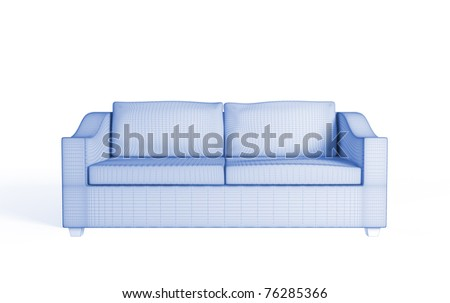 3d wireframe of a modern sofa. Isolated on white.3d rendered. - stock photo