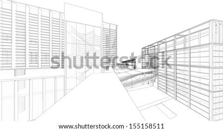 3D wireframe of building  - stock photo