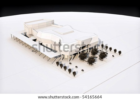 3d wireframe render of a cinema building concept - stock photo