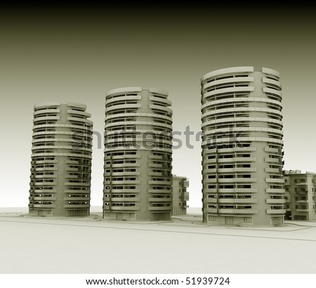 3d wireframe resindetial buildings render in sepia color - stock photo