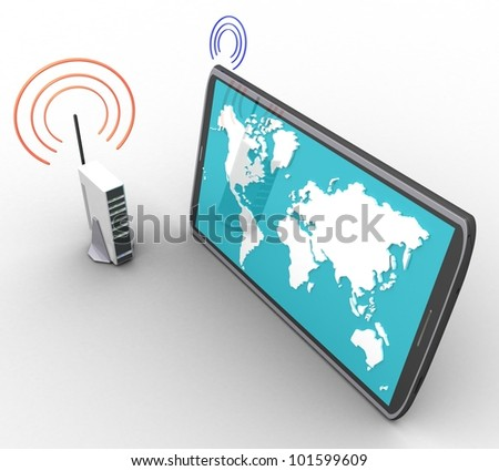 3d wireless internet and a computer on a white background isolated - stock photo
